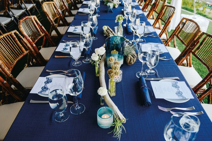 Octopus blankets: Maritime Ambiance Seattle Wedding featured on Seattle Met Bride & Groom || Zoe Rain Photography || Lisa Chambers wedding planner || See more http://seattlemetbrideandgroom.com/2015/08/real-wedding-mike-quinlan-mike-salvadore/ #seattlewedding #tablescape #nwstyle