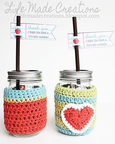 Mason Jar Cosies, free pattern by Maura Kirk #crochet