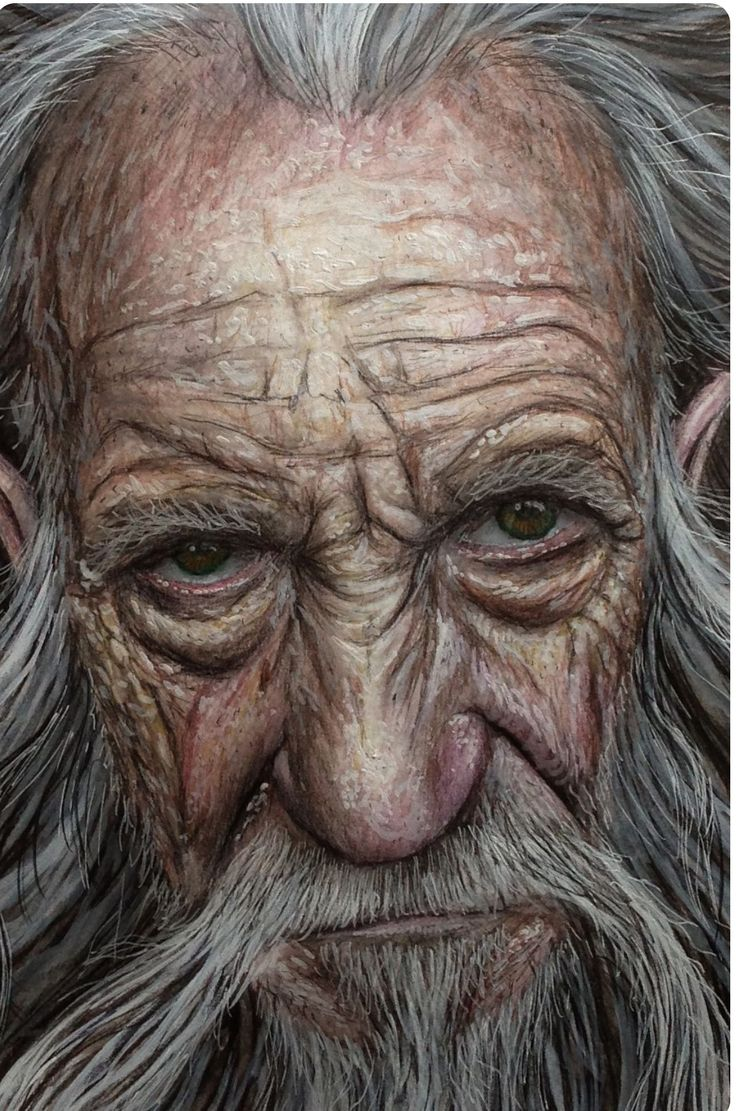 Here is an aged man who looks as though his life has been a rough one..
