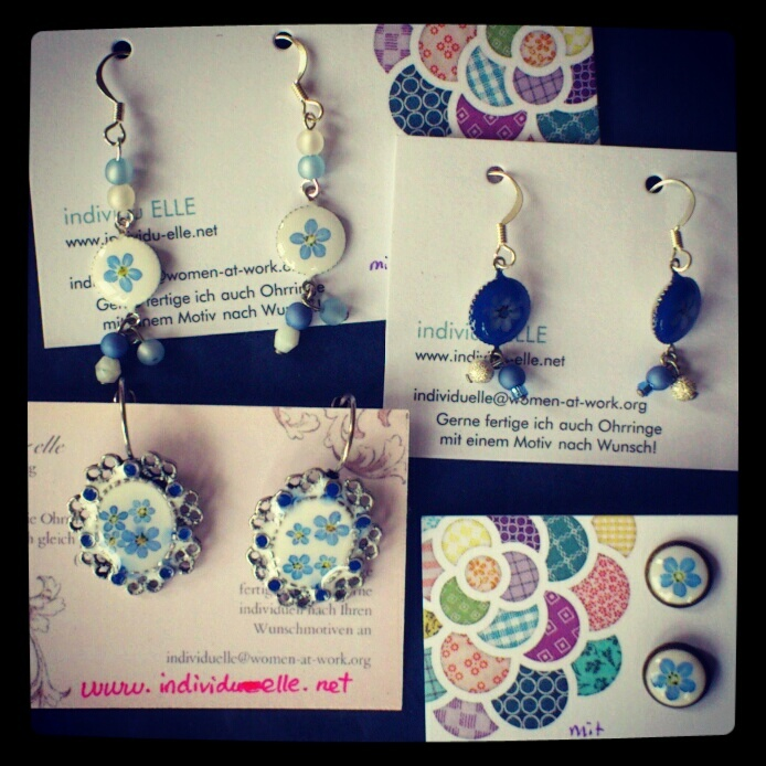 spring collection #jewelry #earrings #forgetmenot #romantic #flowers #cabochon #diy #handmade