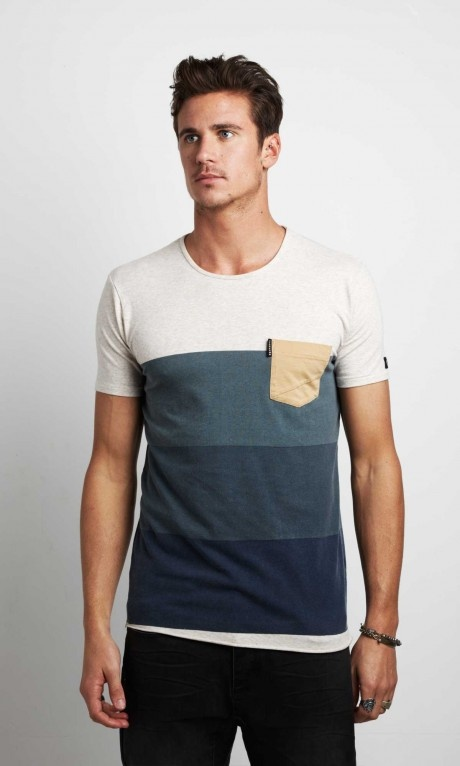 Different shades of a color striped pocket tee
