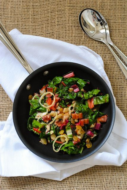 Sauteed Swiss Chard with Fruit and Nuts - A 10-minute side dish packed with vitamins and antioxidants.