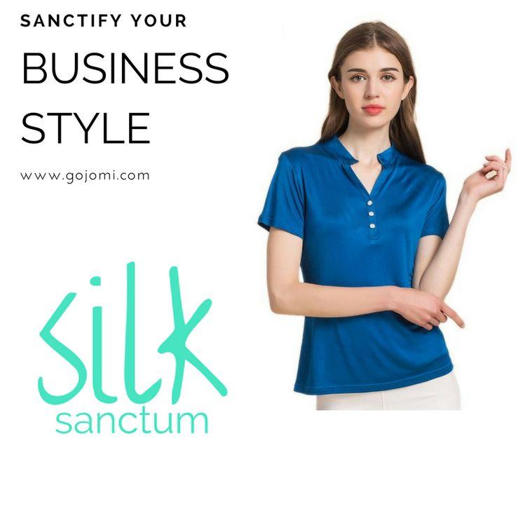 Women's 100% Pure Silk Polo Shirts Short Sleeve
