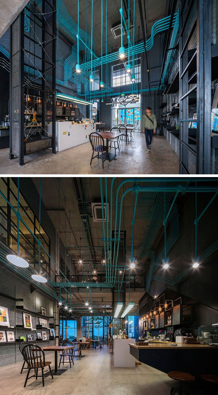 Interior Decor Idea - Turquoise electrical conduit is a design feature running through this co-working office space.