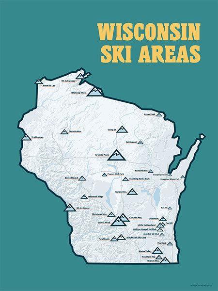Wisconsin Ski Resorts Map 18x24 Poster in 2019 | Wisconsin