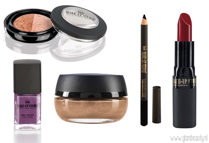 Make-up Studio Trend Herfst Collectie 2013 'Bohemian Rebel' Eyeshadow Lumière Duo - Bronzing Champaign Nagellak M61 Highlighter Mousse nr. 1 Lipliner Black Lipstick nr. 19