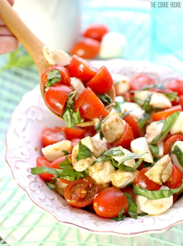 Chopped Caprese Salad is the perfect easy side dish for any BBQ! Simple, delicious, and healthy! Tomato, Mozzarella, Basil, and Balsamic Vinegar. A family favorite!