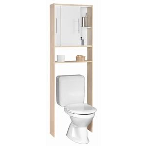 Meuble de rangement wc 2 placards 59 6 x 19 4 x h 185 cm for Meuble sanitaire wc