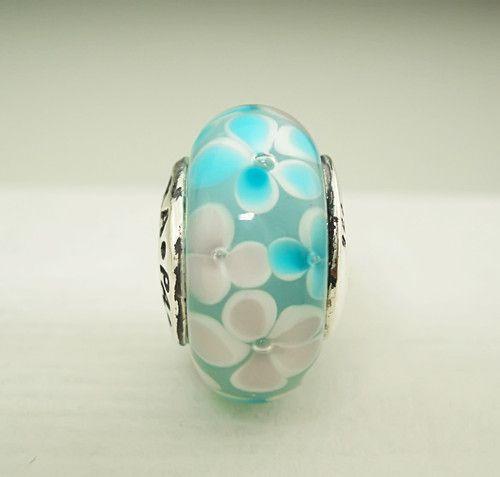 "Authentic Pandora ""Teal Waterlilies"" Murano Glass Bead Charm 780648 | eBay"