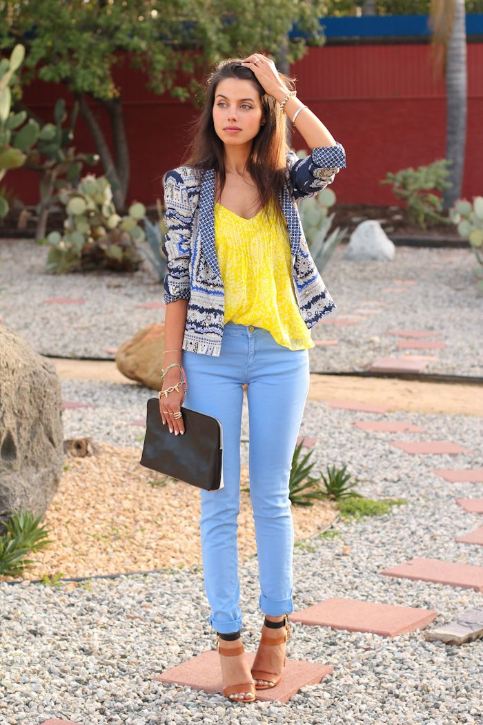 pastel blue jeans with yellow top and printed blazer