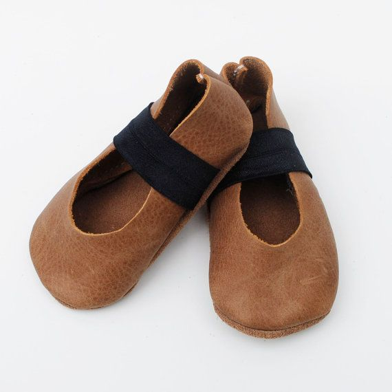 baby ballet flats / walnut leather by ullaviggo on Etsy