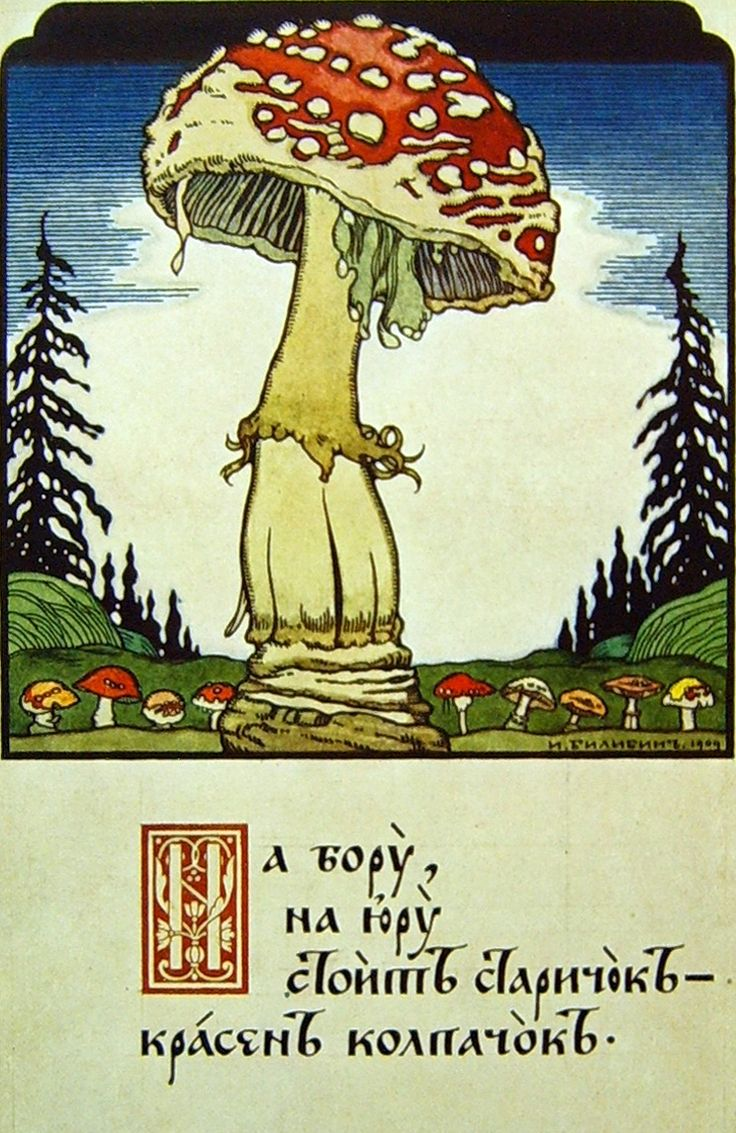 Ivan Bilibin – Mushroom (Postcard), 1909, Image via commons.wikimedia.org
