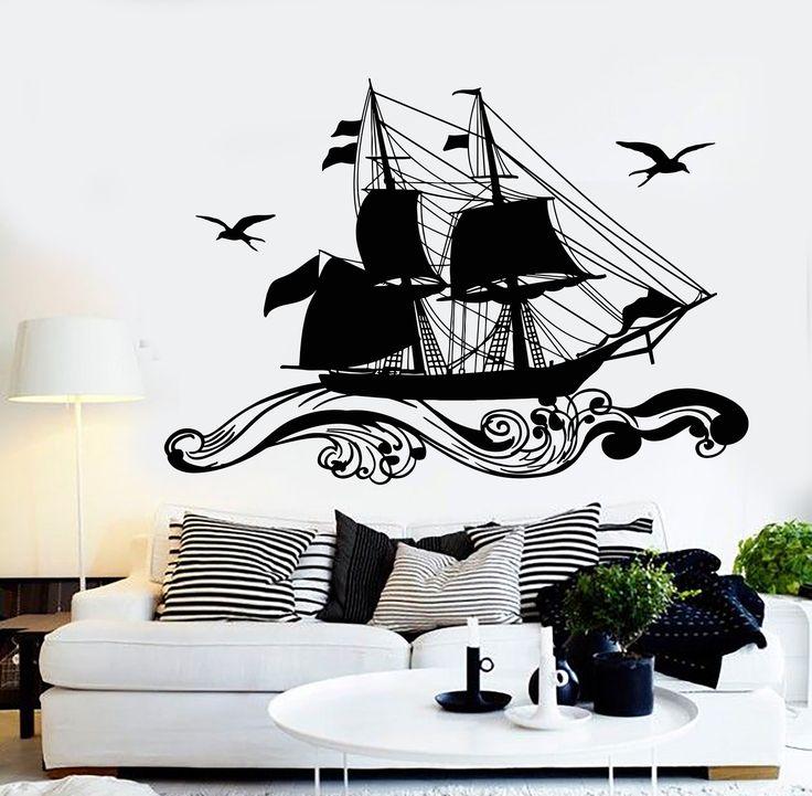 Vinyl Wall Decal Ship Sailor Sea Sails Cruise Seagull Birds Waves Stickers (1218ig)