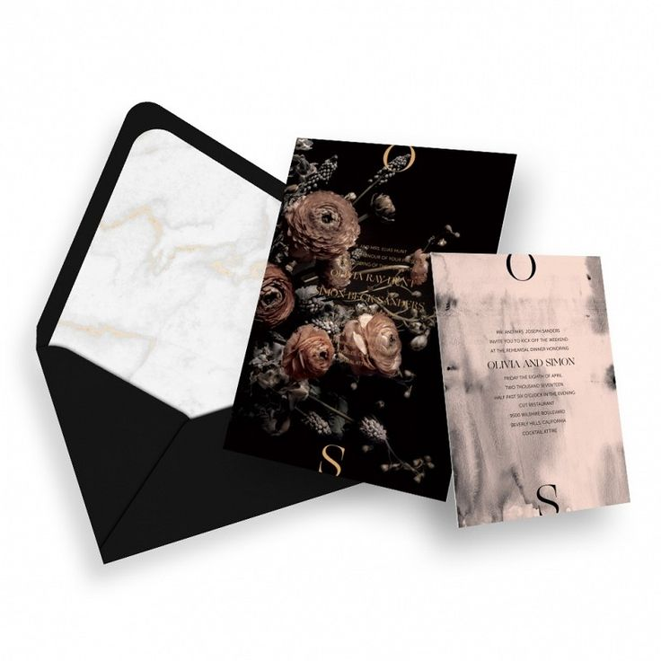 wedding card invitation cards online%0A Dark Floral Modern Wedding Invitation  Moon Canyon  Nynne Rosenvinge   Customize everything in just