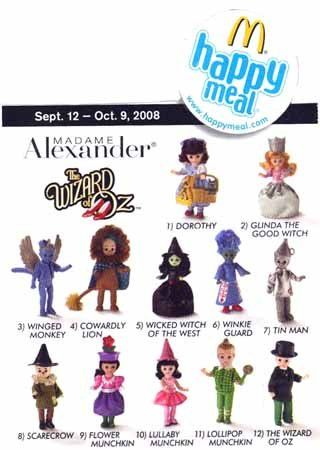 Amazon.com: 2008 Mcdonalds Madame Alexander Wizard of Oz Dolls Set Of 12 Figure: Toys & Games