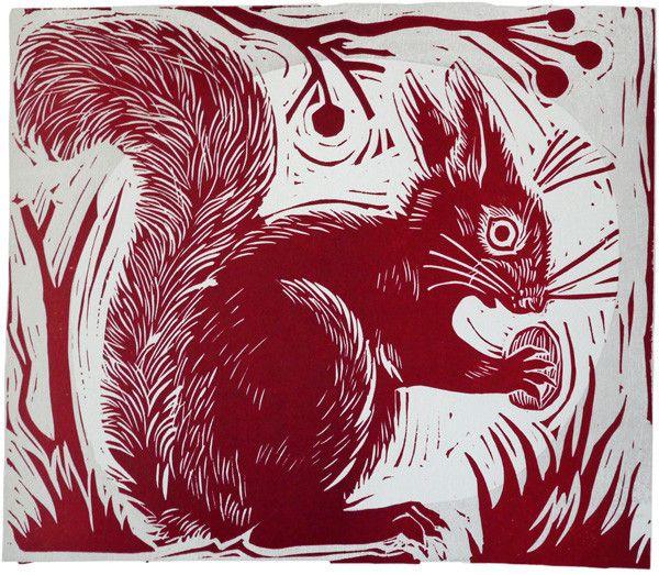 Mark Hearld - Squirrel linocut print