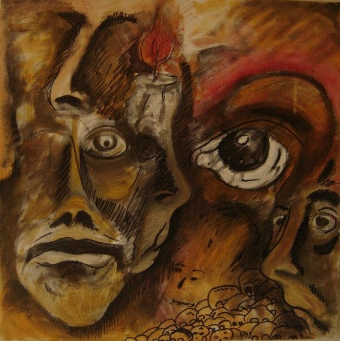 """Omaggio a Baudelaire"" - mix on canvas - size 50x50 - - created year 2013 -"