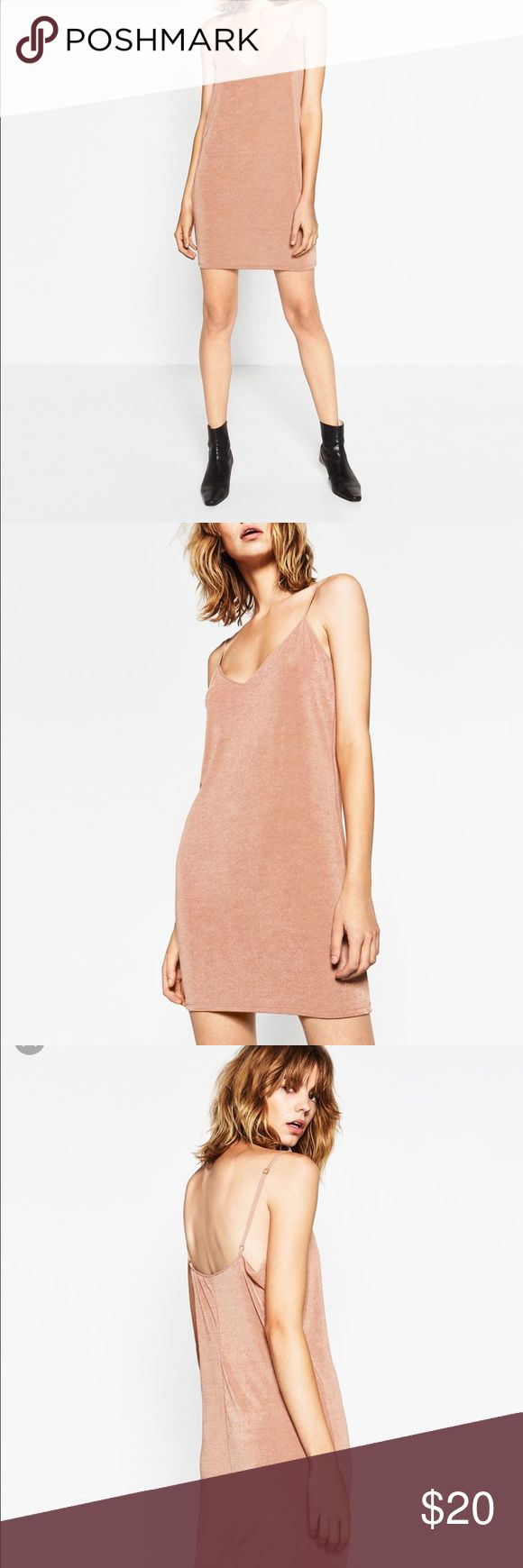 Zara nude/pink slip dress Size small, fits a little big. Nice material, perfect for a date night. Pair with nice denim jacket. Zara Dresses Mini