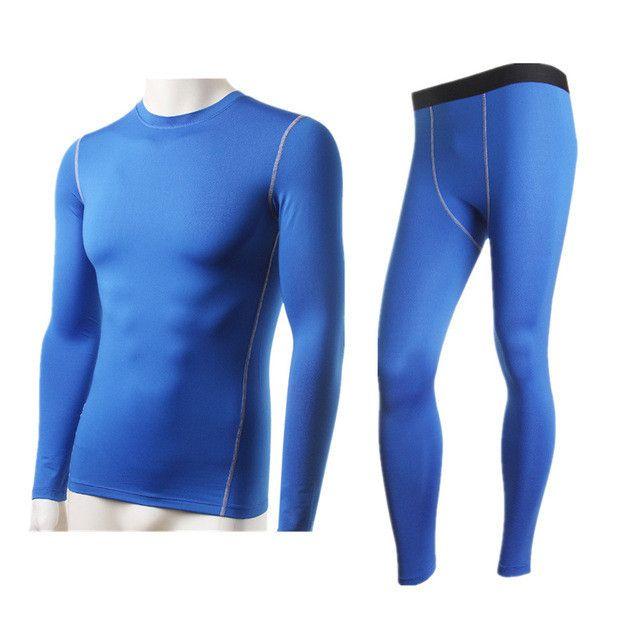 LANBAOSI 2Pcs Men's Compression Running Set Thermal Fleece Underwear Tights Base Layer Shirts Pants for Jogging Fitness Cycling
