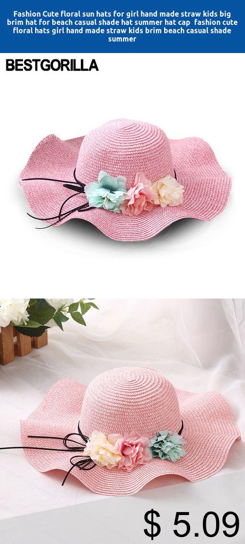 Apparel Accessories Cute Kids Summer Crochet Straw Beach Sun Hat With Flowers