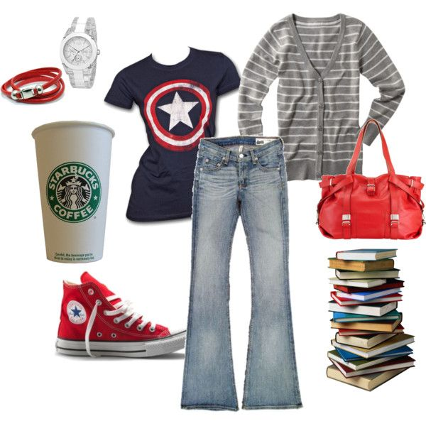 College style.  So me.: Study Gears, Daily Fashion, Captain America Shirts, Clothing, Polyvore Perfect, Outfit, Spring Fashion, Fans Style, Style Ideas