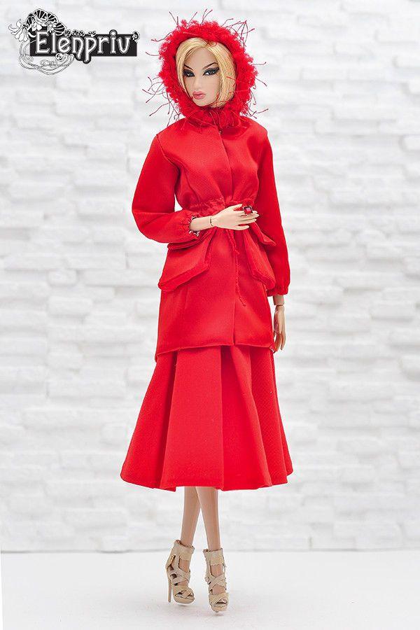ELENPRIV red atlas hooded parka for Fashion royalty FR2 and similar size dolls #Elenpriv