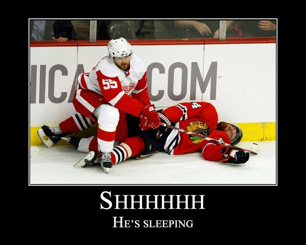 Shhhh... he's sleeping. hockey memes. Red Wings versus Blackhawks! And a'course Red Wings win