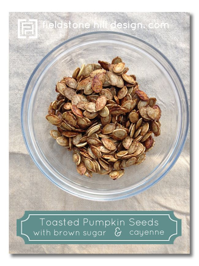 Toasted pumpkin seeds with brown sugar and cayenne, via Fieldstone Hill Design.