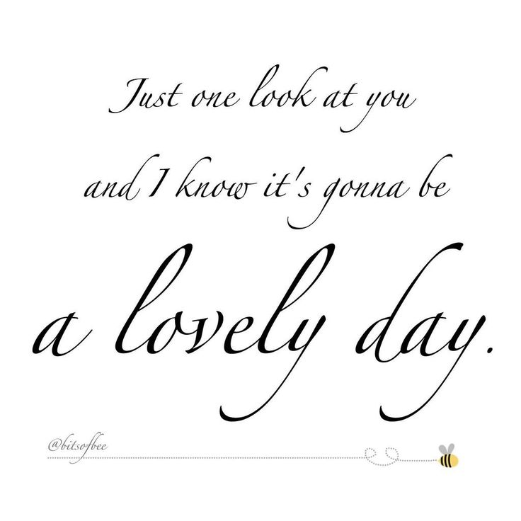 """""""Just one look at you and I know it's gonna be a lovely day"""" - Bill Withers, Lovely Day"""