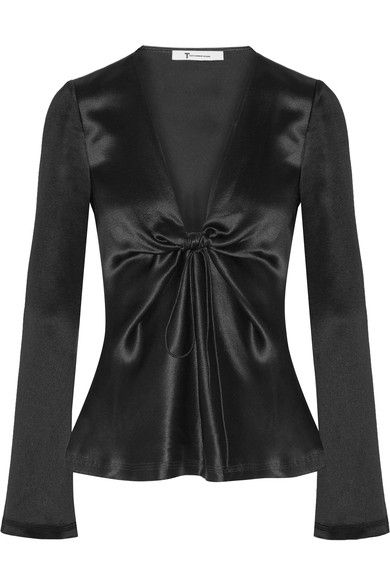 T by Alexander Wang - Knotted Hammered Silk-satin Blouse - Black - US2
