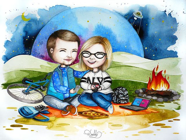 portrait by #dushky | #art #illustration #watercolor #portrait #nature #outdoor #couple #vlogger