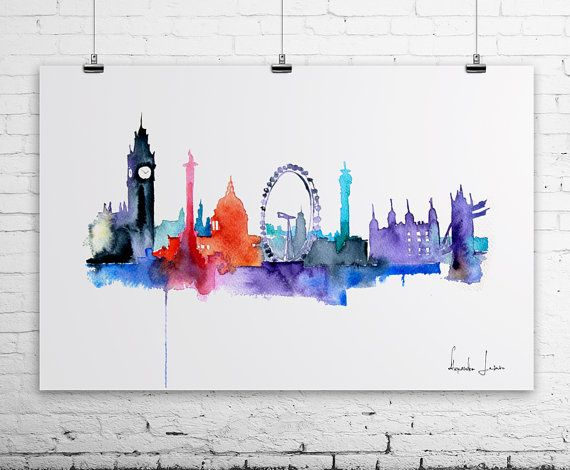Would it be mega cheesy to have a London print when I live in London? I like fund colours.   London City Art Print - Original Watercolor Painting