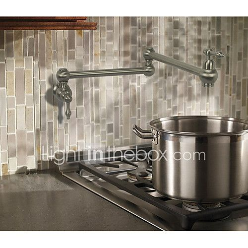 Contemporary Country Modern Pot Filler Centerset Widespread Rotatable with Ceramic Valve Two Handles One Hole for Nickel Brushed , 2017 - $73.94