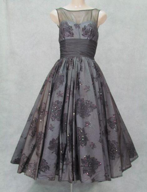 Vintage 1950s Dress Drape Back Embossed Sparkle by klassicline