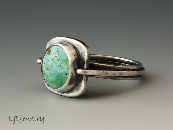Silver+Ring+Turquoise+Jewelry+Burtis+Blue+Stone+by+LjBjewelry,+$205.00