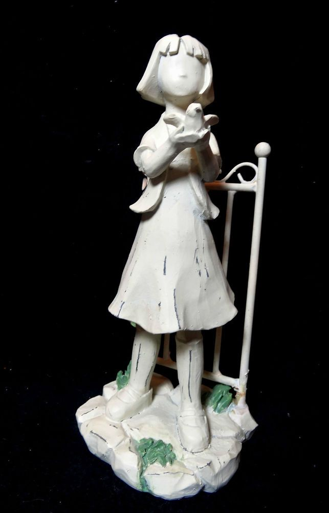 Statue of Girl Holding a Bird White Resin and Metal