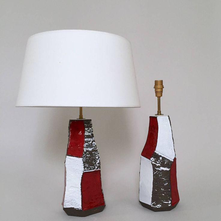 Faceted Pair of Ceramic Lamp Bases by Salvatore Parisi image 3 1d