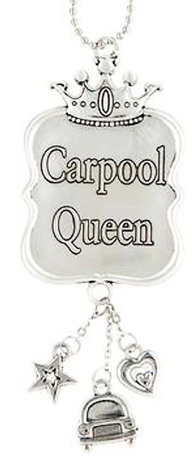 "Amazon.com: Cool & Custom {7"" Chain Hang} Single Unit of Rear View Mirror Hanging Ornament Decoration Made of Zinc Alloy w/ Carpool Angel Playful Engraved Font w/ Royal Crown Design [Saturn Silver Colored]: Automotive"