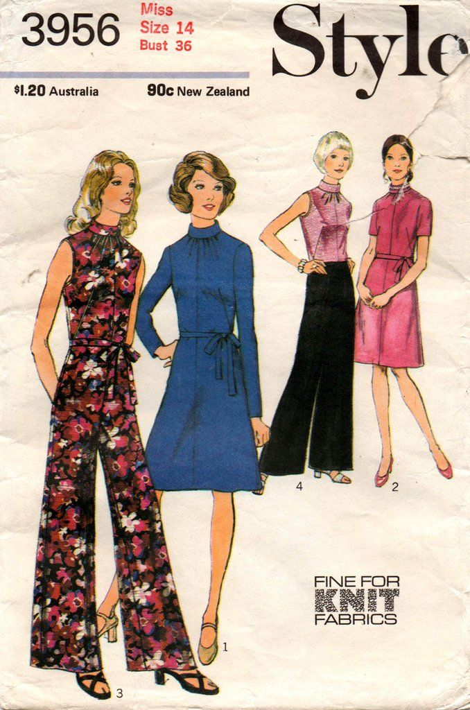 Style 3956 Womens High Neck Dress or Jumpsuit 70s Vintage Sewing Pattern Size 14 Bust 36 inches