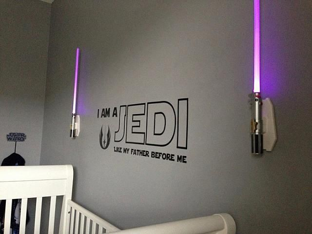 This is so cool!  I want the light saber sconces.