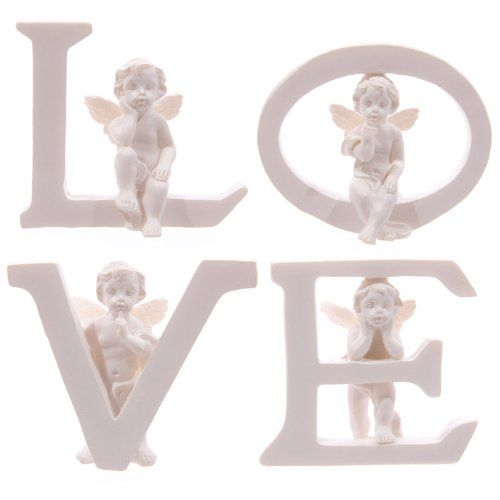 lotusandlime Set of 4 Angel Cherub LOVE Letters Ornaments Figures Valentines Mothers Day Gift andlt