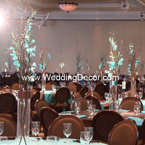 Tall Wedding Centerpiece - Natural birch branches with aqua dendrobium orchids in glass cylinder vase with brown ribbon accent.