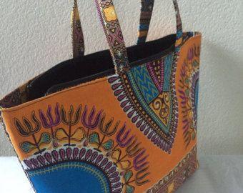 Sac africain, Ankara sac, sac africain, sac à main en pagne africain, sac imprimé africain, mode Ankara, sac à la main, Orange et bleu sac