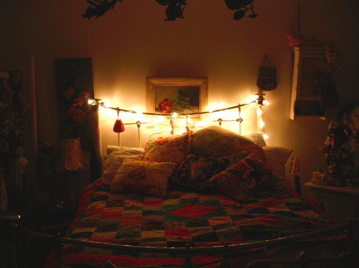 Bed. Love a fairy light.