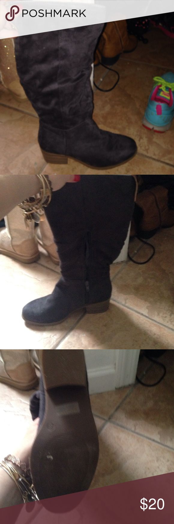 Grey zip up boots Grey velvet boots, zip up . So cute but don't fit barely worn Charlotte Russe Shoes Heeled Boots