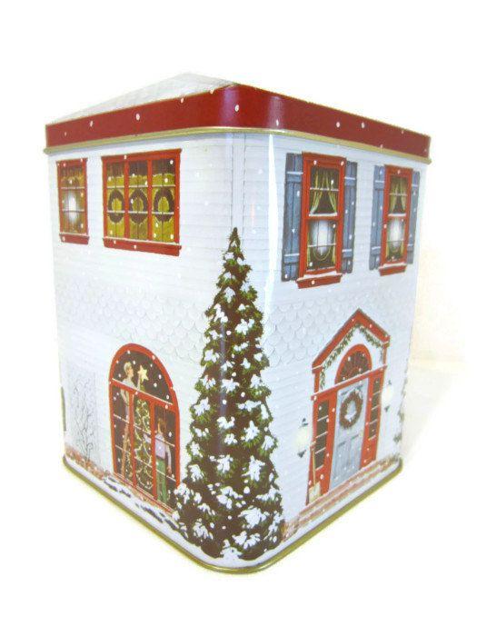 Vintage christmas tin box cookie tin house shaped box for Decorating tins for christmas