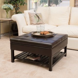 Miriam Wood Square Storage Ottoman Bench with Bottom Rack by Christopher Knight Home - 17665266 - Overstock - Great Deals on Christopher Knight Home Ottomans - Mobile