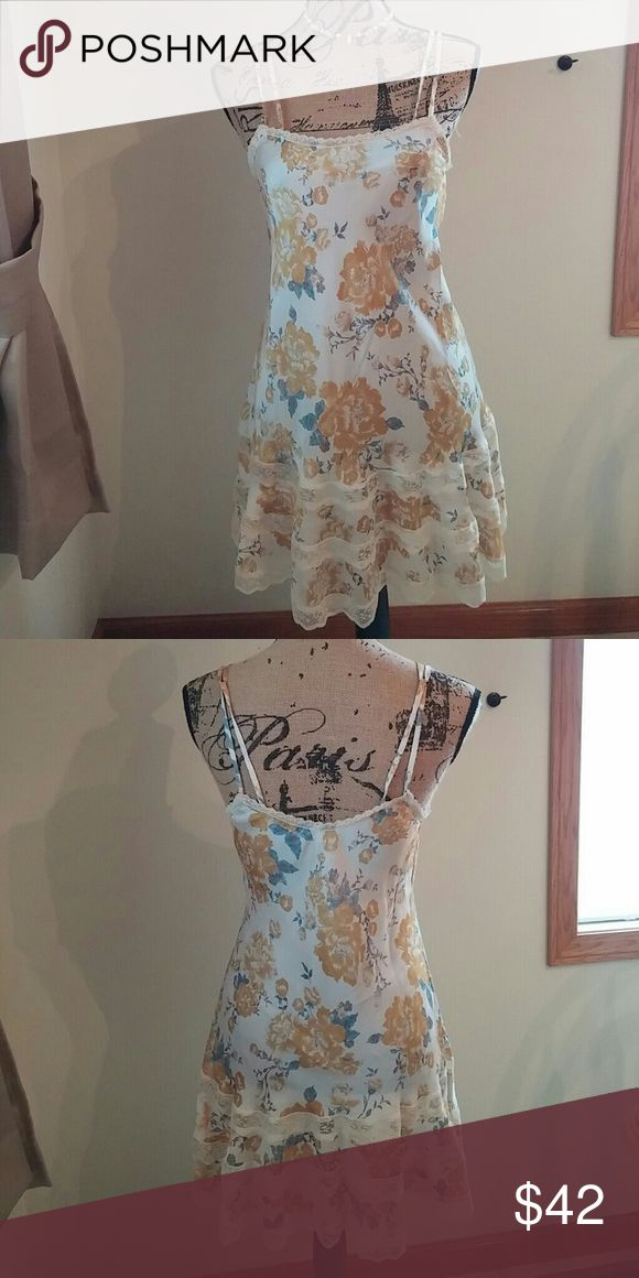 Free People Golden Rose and Lace Dress Super Silky Feel, With Goldish Yellow Roses and Blue Leaves, it has Lace around Neckline and Three Stripes at Bottom, So Pretty!!! NWOT Free People Dresses Midi