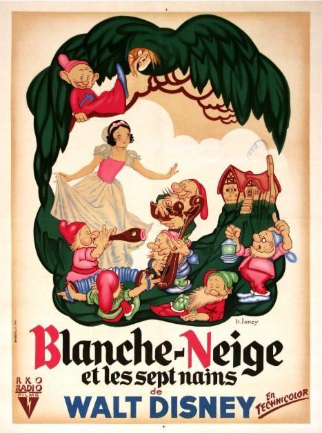 Affiche du dessin animé Blanche-Neige et les 7 Nains sortie en 1937