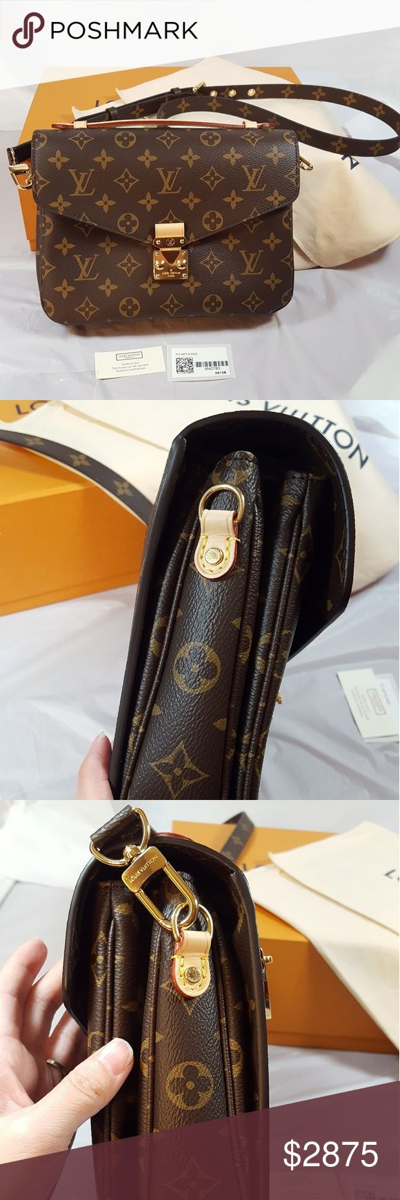 brand new authentic Louis Vuitton pochette metis Brand new authentic Louis Vuitton Pochett Metis. The plastic wrap still on the front gold S-lock. Comes with box, dust bag, tags, shopping bag. I bought the bag myself directly from LV store.  Bag is Made in Italy,  datecode is PL4197.  NOTE: Price is firm due to how hard is to locate this bag, this bag is always sold out at the store and online, plus Posh fee. If you don't like the price,  it's ok, please move on.  No need for rude comments…